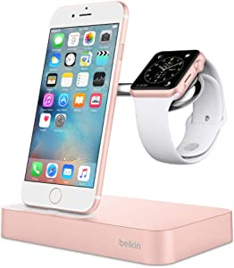Belkin Valet Charging Dock for iPhone 11, 11 Pro, 11 Pro Max, Xs, XS Max, XR, X, 8/8 Plus and More, Apple Watch Series 4, 3, 2, 1, Rose Gold (F8J183ttC00-APL)