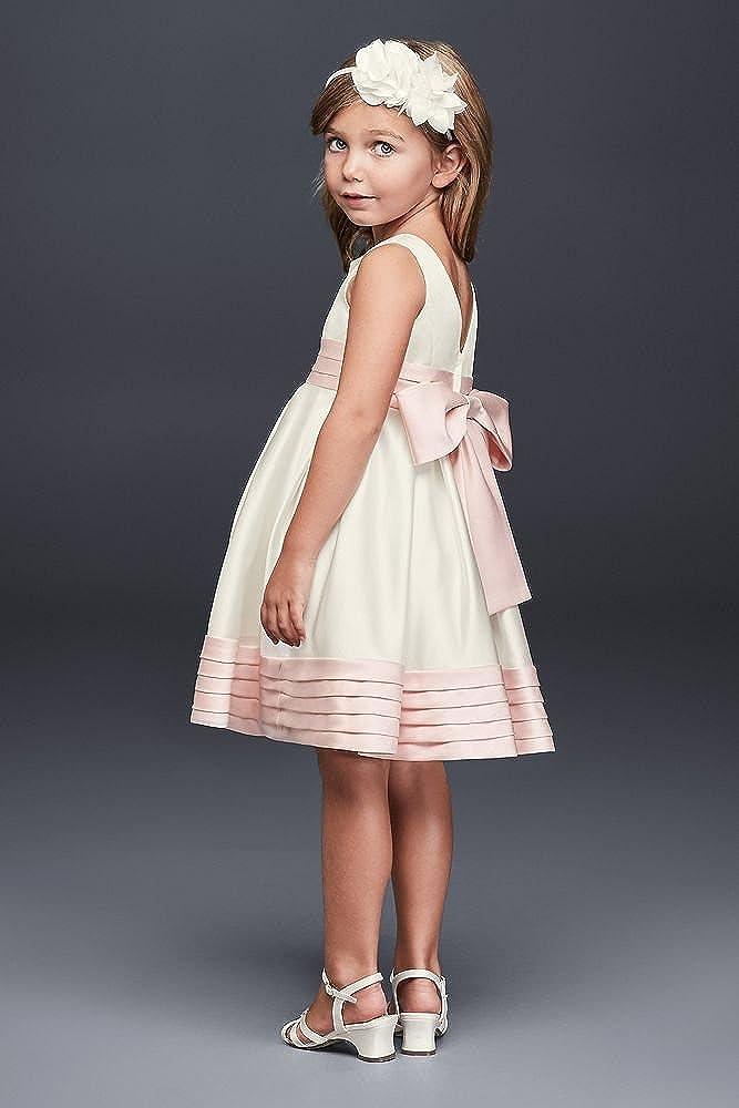 90676927a2e Amazon.com  David s Bridal Satin Flower Girl Communion Dress with Pleated  Waist and Hem Style WG1372  Clothing