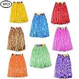 CoolDi 8pcs Colorful Hawaiian Skirt Hula Grass Straw Skirt (24-inch)