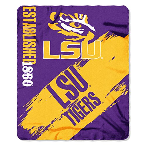 NCAA LSU Tigers Painted Printed Fleece Throw Blanket, 50