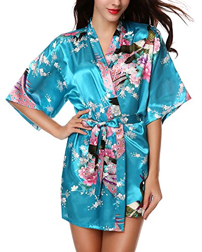 Avidlove Womens Kimono Robes Peacock and Blossoms Silk Nightwear Short Style