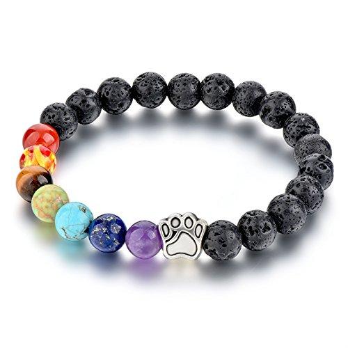 va Rock Bead Bracelet 8 mm beads Elastic Reiki Healing Energy Stone Diffuser Bracelets (Colored Stone Bracelet)