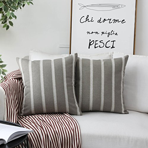 HOME BRILLIANT Large Stripe Decorative Pillow Covers Euro Shams Cover for Living Room, 24x24 inches(60x60 cm) Set of 2, Tan