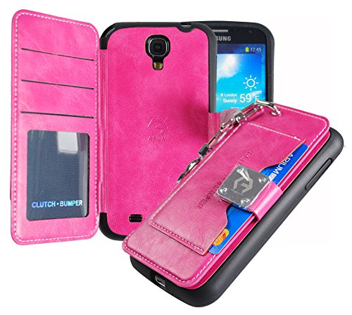 Galaxy S4 Case,[Pink] [Back Pocket Case] [5 Card Slot] Finger Holder Clip PU Leather TPU Bumper Clutch Case [Drop Protection] For Samsung Galaxy S4 ACS4PK