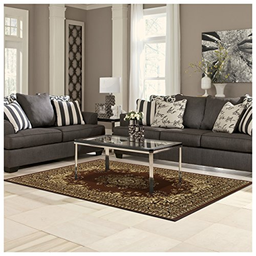 Superior Prescott Collection 5' x 8' Area Rug, Attractive Rug with Jute Backing, Durable and Beautiful Woven Structure, Oriental Medallion Rug with Detailed Border - Coffee
