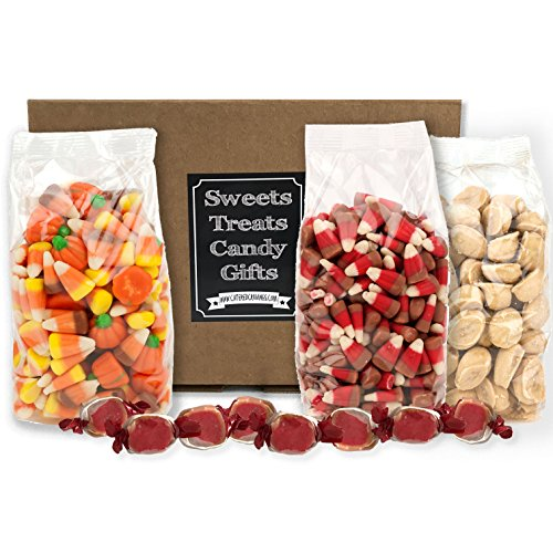 Fall Candy Gift Box Candy Apple Candy Corn Mellowcreme Candy Pumpkins Autumn Mix, Maple Goodies Candies and Bonus Taffy