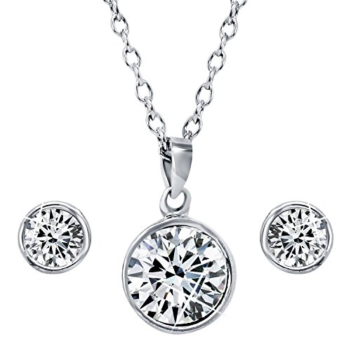 Mahi with Swarovski Crystal Elements Rhodium Plated Solitaire Pendant Set For Women NL1104136R