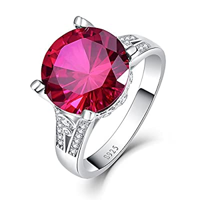 BONLAVIE 8ct 12X12mm Created Red Ruby Engagement Ring for Women 925 Sterling Silver Cubic Zirconia hot sale