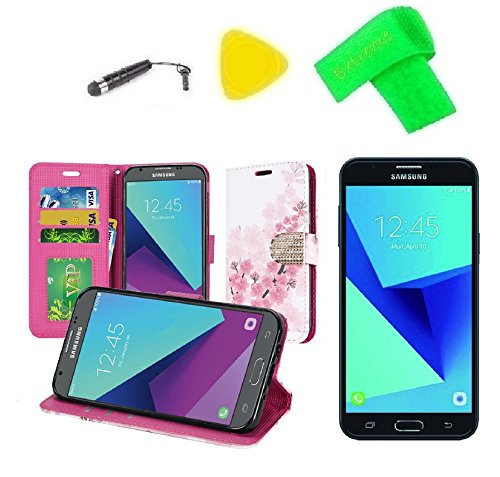 Wallet Pouch Cover + Screen Protector + Extreme Band + Stylus Pen + Pry Tool For Samsung Galaxy Halo Sky Pro J7V J7 V 2017 J7 Perx SM-J727R4 SM-J727A SM-J727V - Faceplates Cherry