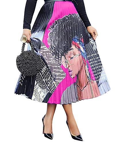 (Halfword Womens Graffiti African Maxi Skirt - Color Block Letter Print Pleated Swing Midi Dress Cartoon S)