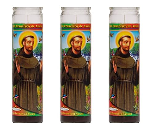 St Francis de Assisi Religious Prayer Candle 3 Pack / Saint Francis Novena Vigil Candle 3 Pack (St Francis Of Assisi Candle)