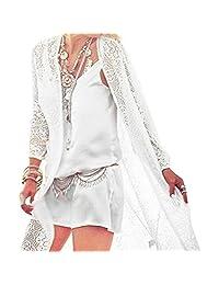 Summer Skirt Beachwear Cream Lace Cardigan, iBaste White Crochet Kaftan Kimono Long Tassel Blouse Bikini Cover Ups for Women