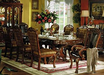 9pc Formal Dining Table Chairs Set In Brown Cherry Finish