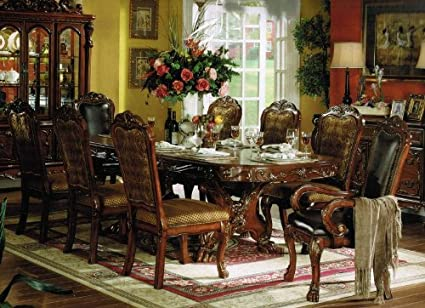 9pc Formal Dining Table u0026 Chairs Set in Brown Cherry Finish & Amazon.com - 9pc Formal Dining Table u0026 Chairs Set in Brown Cherry ...