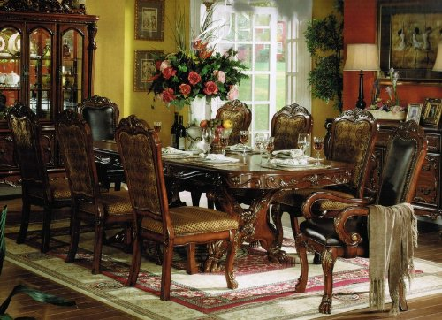 Amazon.com: 9pc Formal Dining Table & Chairs Set in Brown Cherry ...
