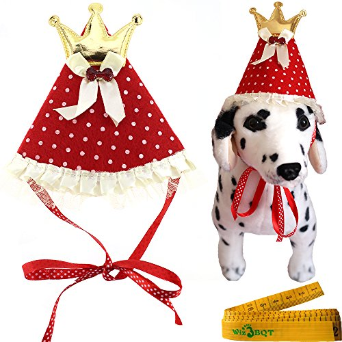 Red Pet Dog Cat Birthday Holiday Party Hat Headwear Costume Accessory with Golden Color Crown Bow ties White Dots and Lace for Small Medium Dogs Cats (Birthday Costumes)