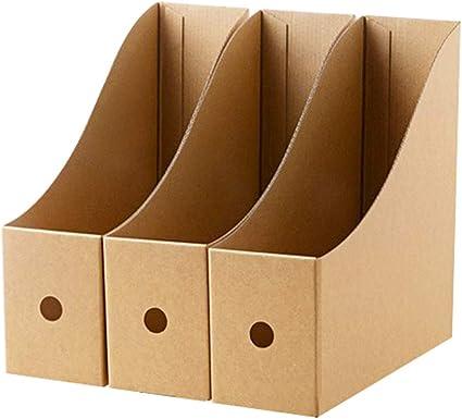 3 revisteros de papel kraft para revistas manualidades caja estantería de almacenamiento archivador de documentos de escritorio documentos A4 CD libro correo: Amazon.es: Oficina y papelería