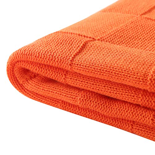 Vonty Cable Knit Blanket Soft Knitted Throw Couch Cover Blanket, Warm & Cozy for Couch Sofa Bed Beach Travel Use - Orange, 47