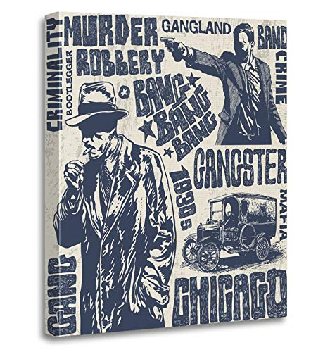 Emvency Painting Canvas Print Artwork Decorative Print Retro Gangsters 1930S Characters Words and Design Gun Detective Man Smoke Noir Wooden Frame 20x30 inches Wall Art for Home Decor