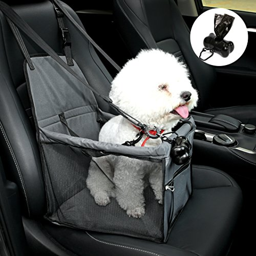 NO Collapse Dog Car Booster Seats Safety Seat Car Seat Cover with Dog Seat Belt Non Slip Carrier,Waterproof, Breathable, Portable, Foldable for Small Pets Animals Cat Puppy Grey For Sale
