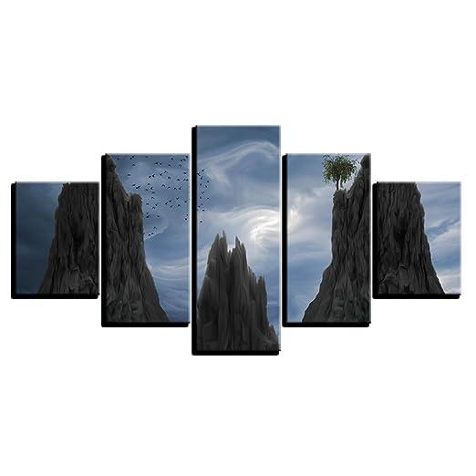 Cartel moderno lienzo modular imágenes 5 piezas montaña nube ...