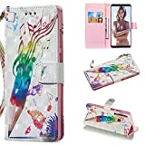 Amocase Wallet Case with 2 in 1 Stylus for Samsung Galaxy A9 2018/A920,Luxury 3D Pencil Music Notes Art Printed Scratch Resistant Magnetic Kickstand Full Body Soft Silicone Strap PU Leather Case