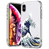 MOSNOVO Case for iPhone Xs/iPhone X, MOSNOVO Tokyo Wave Clear Design Pattern Printed Transparent Plastic Hard Back Case with TPU Bumper Protective Case Cover for Apple iPhone X/iPhone Xs