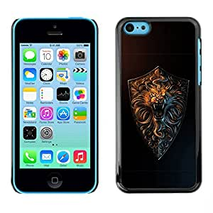Carcasa Funda Prima Delgada SLIM Casa Case Bandera Cover Shell para Apple Iphone 5C / Business Style Lion Roar Gold
