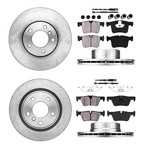 Callahan FRONT 312 mm + REAR 300 mm Premium OE 5 Lug [4] Rotors + [8] Ceramic Pads + Clips + Sensors CRK01341 ()