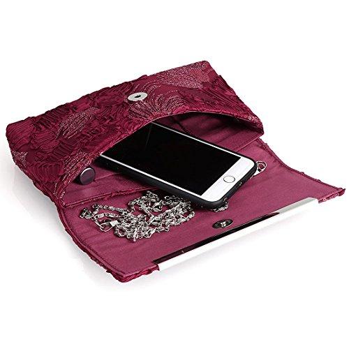 YYW Floral Clutch Bag - Cartera de mano para mujer wine red color