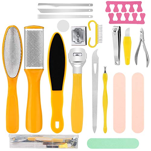 20 PCS Pedicure Kit, Foot Rasp Foot File Callus Remover Kit, Professional Stainless Steel Foot Rasp Peel Scrubber Callus Shaver Scraper Tool Manicure and Nail Toenail Clipper Foot Care Set for Women