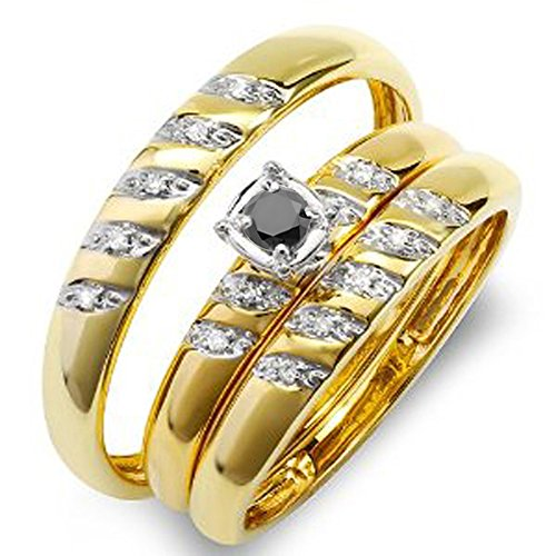 008-Carat-ctw-10K-Gold-Round-White-And-Black-Diamond-Men-Womens-Diamond-Ring-Trio-Set