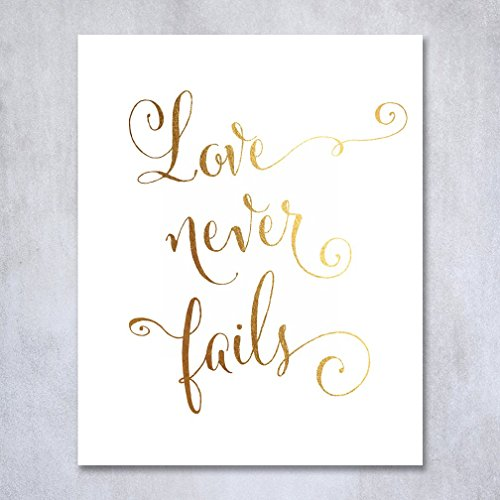 Love Never Fails Gold Foil Print Poster Home Wall Art Inspirational Motivational Quote Gold