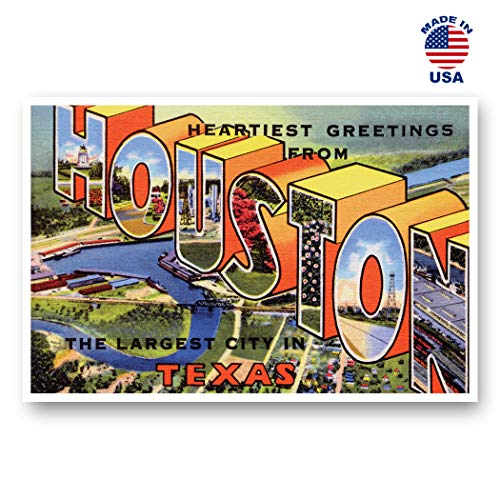 - GREETINGS FROM HOUSTON, TX vintage reprint postcard set of 20 identical postcards. Large Letter Houston, Texas city name post card pack (ca. 1930's-1940's). Made in USA.