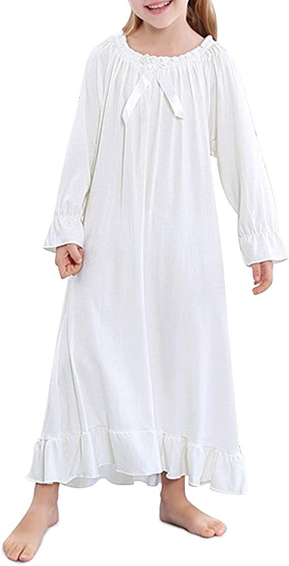 Victorian Kids Costumes & Shoes- Girls, Boys, Baby, Toddler BOOPH Girls Nightgown Toddler Sleep Dress Princess Nightwear for Girl 3-12 Years $18.99 AT vintagedancer.com