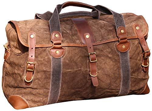 IBLUE Large Rugged Waterproof Canvas Travel Duffel Bag Vintage Leather Trim Carryon Tote Weekend Overnight Bag Gym Sports Handbag