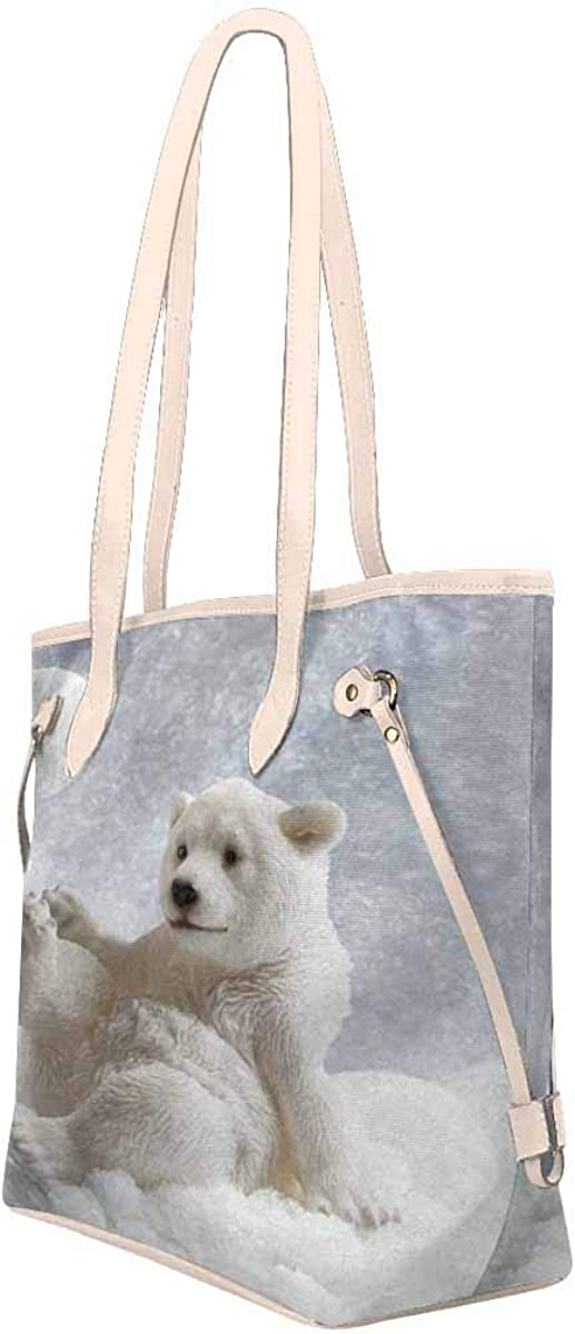 InterestPrint Tote Bags Womens Handbags Ladies Shoulder Bag Funny Polar Bear Playing Snowball Cute Animal