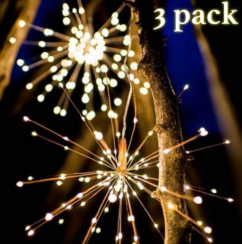 6 Silaba 3 Pack LED Decorative Starburst Fairy Hanging Copper Wire String Lights(Waterproof) with 8 Mode Dimmable Battery Operated Remote Control(Warm White).
