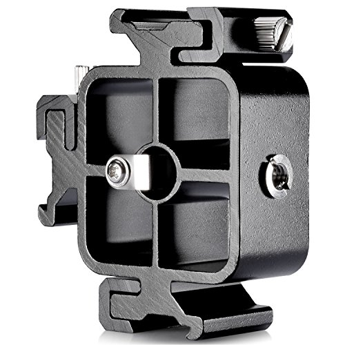 Neewer Aluminium Alloy Triple Three Universal Cold Shoe Mount Bracket for Canon Nikon and Other DSLR Cameras or Camcorder Accessory Such as LED Video - Shoes Com Alloy