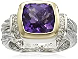 S&G Sterling Silver and 14k Yellow Gold Cushion Amethyst Bezel with Diamond Accent Ring, Size 7