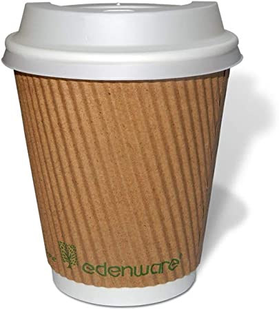 50 8oz(227ml) or 12oz(340ml) Kraft Ripple 100% Compostable Paper Coffee Cups with Compostable Sip Lids and Free Wooden Compostable and Biodegradable