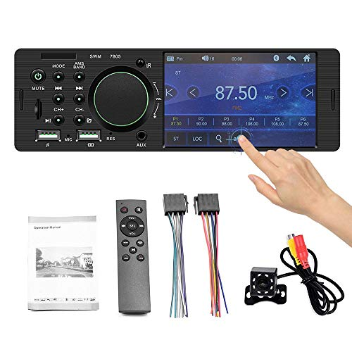 (Tenlso Car Mp5 Player,Wireless BTDouble Din Car Audio Video Built-in 1 Set 4 Inch Hd Dual USB Ouch Screen Version 7805 with Camera/FM/USB/TF/Rear Camera Input)