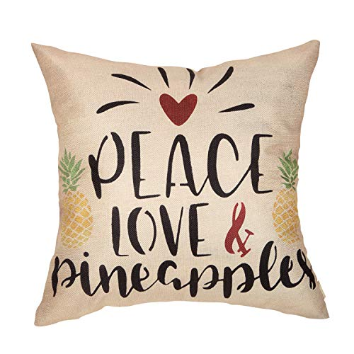 Fahrendom Spring Summer Rustic Farmhouse Home Décor Watercolor Pineapple Decorative Throw Pillow Cover Peace and Love Sign Decoration Cotton Linen Cushion Case for Sofa Couch 18 x 18 in (Love Pillows Peace)