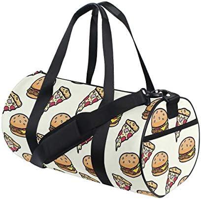 ボストンバッグ ハンバーガー ピザ柄 ジムバッグ ガーメントバッグ メンズ 大容量 防水 バッグ ビジネス コンパクト スーツバッグ ダッフルバッグ 出張 旅行 キャリーオンバッグ 2WAY 男女兼用