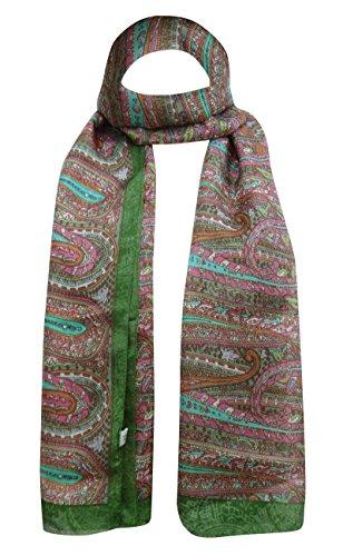 Rectangle Écharpe De Soie Paisley Wrap Étoles Doux 70 X 20 Pouces Vert Et Gris