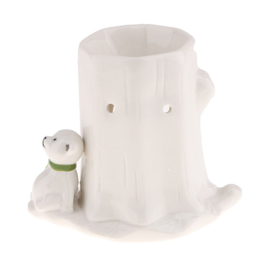 OOHHOO Bear White Ceramic Animal Incense Burner Candle Tealight Holder Home Table Decor
