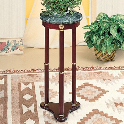 Wood Pedestal Cherry (Pedestal Plant Stand Top Finish: White Marble)