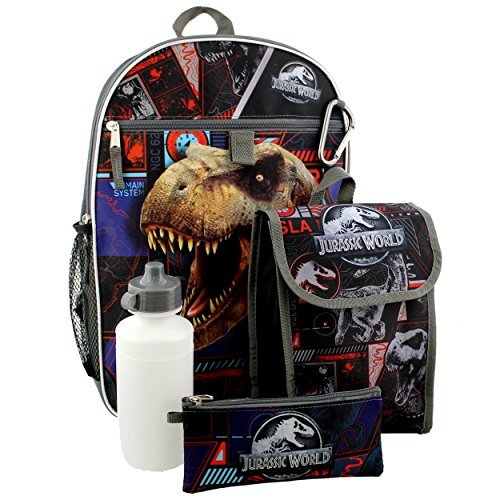 Jurassic World Boys 5 piece Backpack and Snack Bag School Set
