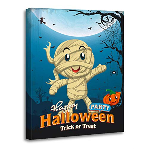 Emvency Canvas Wall Art Print Border Party Vintage Halloween Kid in Mummy Costume Spider Artwork for Home Decor 16 x 20 Inches]()