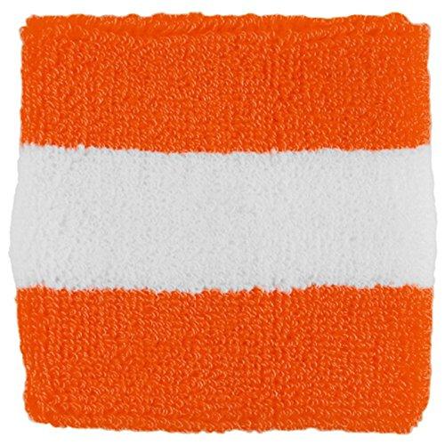 Striped Cotton Terry Cloth Moisture Wicking Wrist Band (Orange/White)